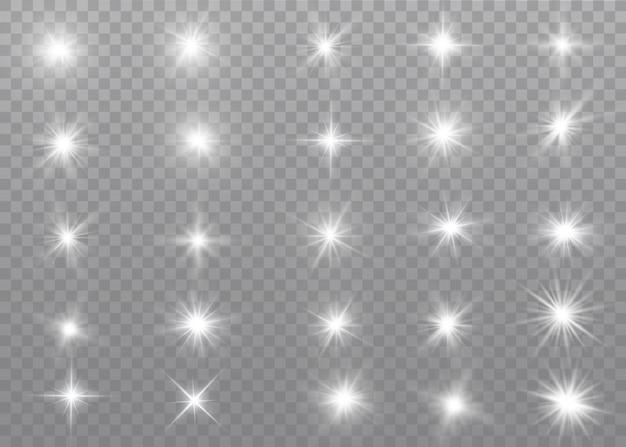 Ensemble d'effet de lumière transparent blanc brillant isolé