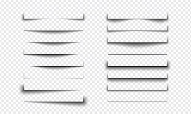 Ensemble d'effet d'ombre réaliste sur un fond transparent, séparation de page s