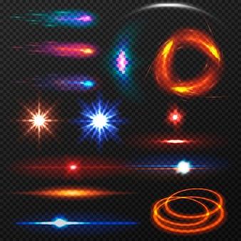 Ensemble d'effets de lumière colorés isolés.