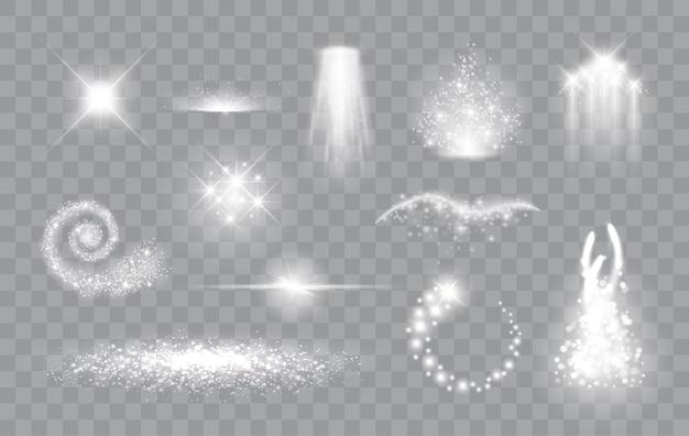 Ensemble d'effets de lumière magiques étincelles magiques étoiles et particules