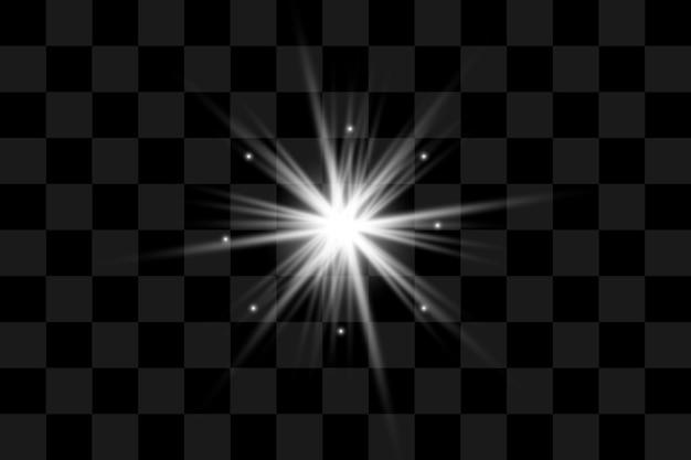 Ensemble d'effets de lumière transparents blancs isolés, lumière parasite, explosion, paillettes, ligne, flash solaire, étincelle et étoiles. conception abstraite d'éléments d'effets spéciaux. rayon de brillance avec éclair