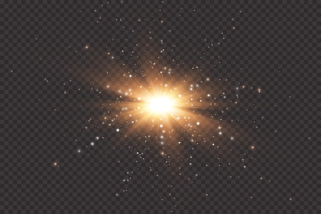 Ensemble d'effets de lumières rougeoyantes dorées sur fond transparent. sun flash avec des rayons et des projecteurs. effet de lumière éclatante. l'étoile a éclaté d'étincelles.