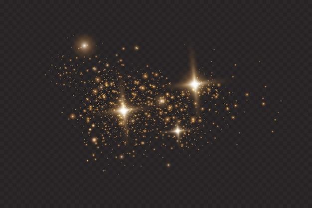Ensemble d'effets de lumières rougeoyantes dorées isolés sur fond transparent. sun flash avec des rayons et des projecteurs. effet de lumière éclatante. l'étoile a éclaté d'étincelles.