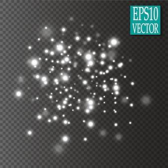 Ensemble d'effets de lumières rougeoyantes dorées isolés sur fond transparent.