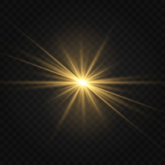 Ensemble d'effets de lumières rougeoyantes dorées isolés sur transparent