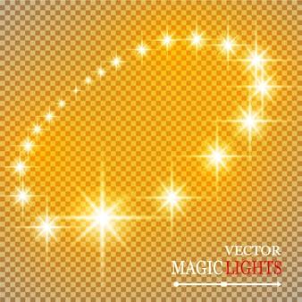 Ensemble d'effets de lumières rougeoyantes dorées