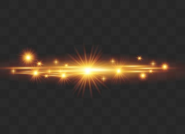 Ensemble d'effets lumineux, lens flare, glitter, line, sun flash.