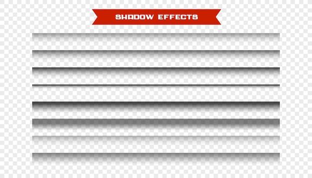 Ensemble d'effets d'ombre de papier réalistes