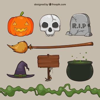 Ensemble effrayant d'éléments de halloween