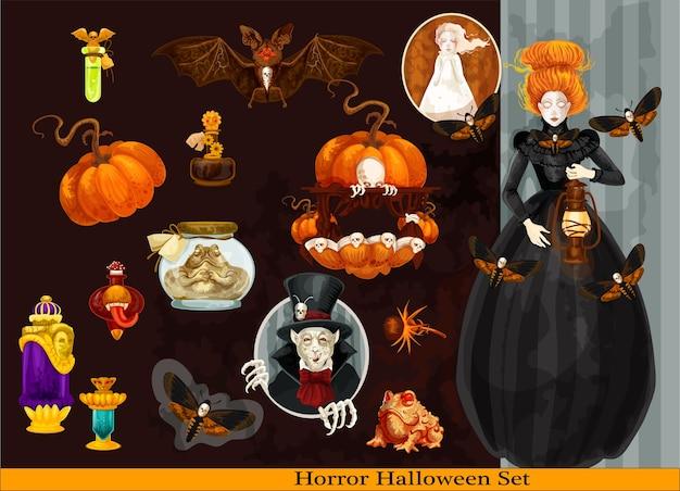Ensemble effrayant d'halloween