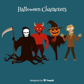 Ensemble effrayant de personnages d'halloween au design plat