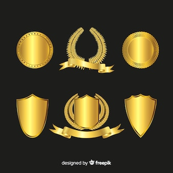 Ensemble élégant de badges en or