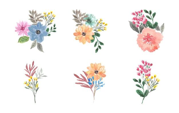 Ensemble élégant de bouquet floral aquarelle peint à la main