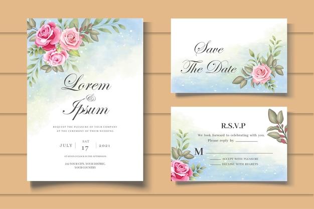 Ensemble élégant de cartes d'invitation de mariage avec de belles roses