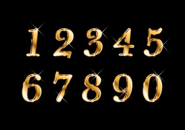 Ensemble élégant et élégant de chiffres dorés