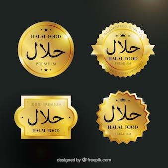 Ensemble élégant d'étiquettes d'aliments halal avec un style doré
