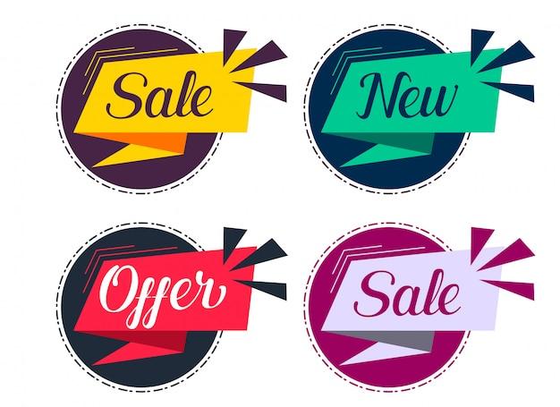 Ensemble élégant d'étiquettes de vente et d'offres