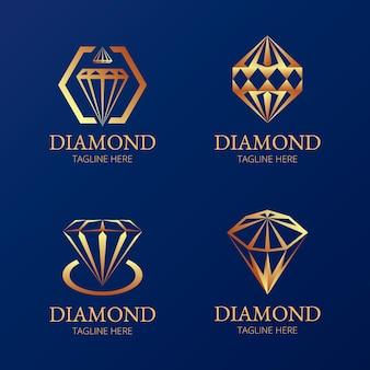 Ensemble élégant de logo en diamant