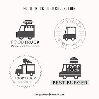 Ensemble élégant de logos rétro de camions alimentaires