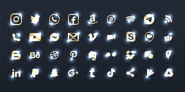 Ensemble d'élégants logos de médias sociaux en bronze.