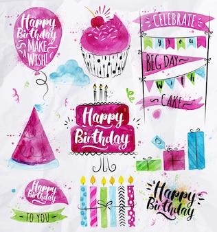 Ensemble d'élément d'anniversaire dessin aquarelle sur papier froissé