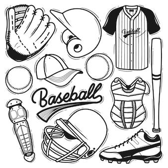 Ensemble élément baseball doodle dessiné à la main