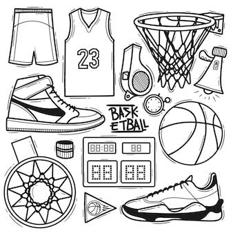 Ensemble élément de basket-ball doodle dessiné à la main