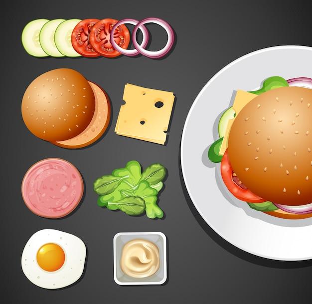 Un ensemble d'élément burger