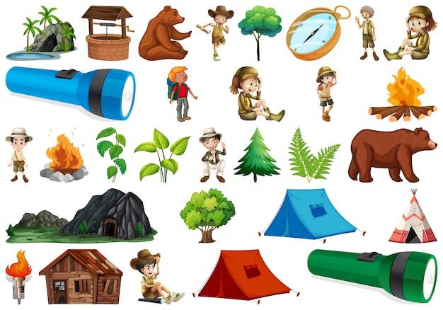 Ensemble d'élément de camping