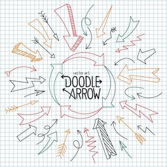 Ensemble d'élément de conception de doodle de flèche