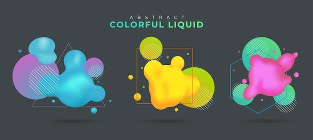 Ensemble d'élément de conception liquide coloré abstrait