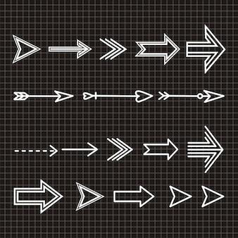 Ensemble d'élément de design dessiné à la main flèche