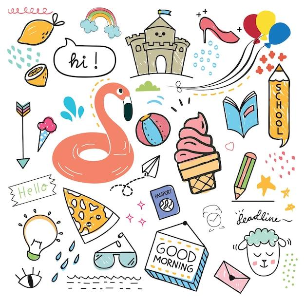 Ensemble d'élément de design et icône dans le style de doodle