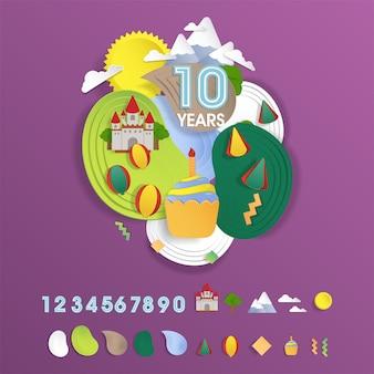 Ensemble d'élément de fête d'anniversaire pour le thème de la terre fantasy enfant