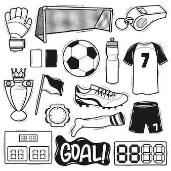 Ensemble élément football doodle dessiné à la main
