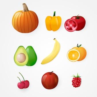 Ensemble d'élément de fruit
