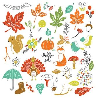 Ensemble d'élément de griffonnage d'automne
