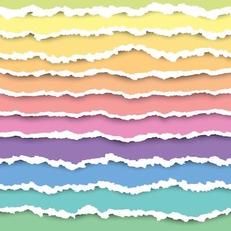 Ensemble d'élément de rayures de papier déchiré coloré