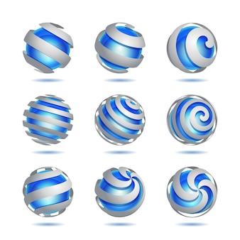Ensemble d'élément de sphère bleue abstraite