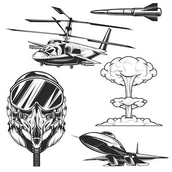 Ensemble d'éléments aéronautiques pour créer vos propres badges, logos, étiquettes, affiches, etc.