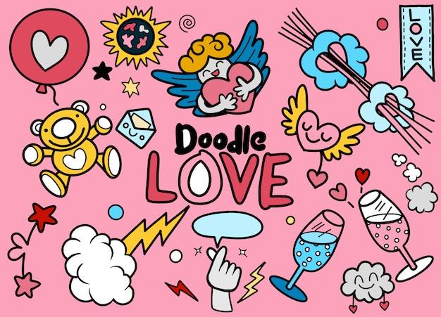 Ensemble d'éléments d'amour dessinés à la main