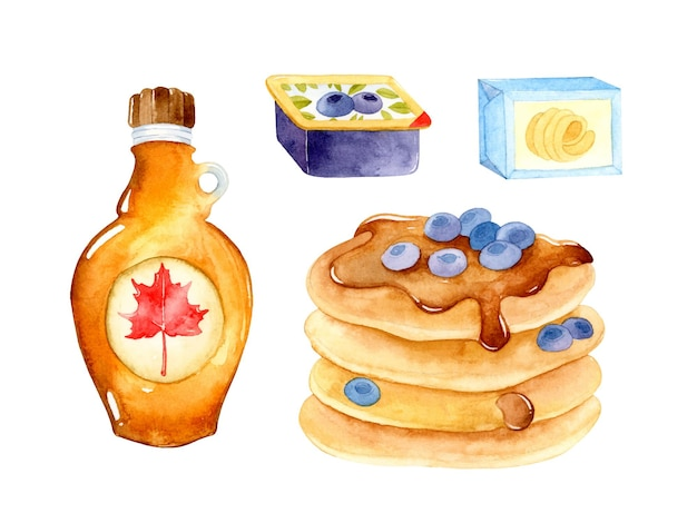 Ensemble d'éléments d'aquarelle de crêpes de petit déjeuner