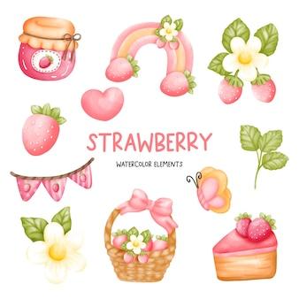 Ensemble d'éléments aquarelle fraise