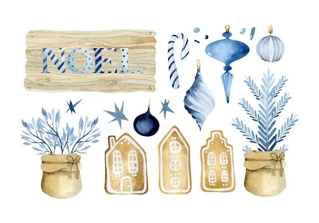 Ensemble d'éléments d'aquarelle de jouets de noël bleus et de biscuits en pain d'épice