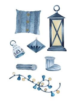 Ensemble d'éléments d'aquarelle de noël hygge rustique bleu