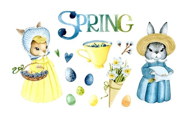 Ensemble d'éléments aquarelle printemps oeuf de pâques