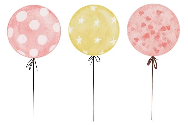 Ensemble d'éléments aquarelles isolés de ballons avec des coeurs roses, des points blancs et des étoiles