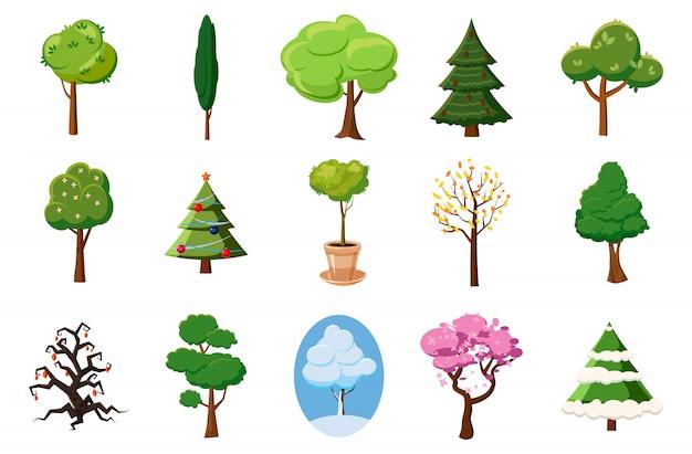 Ensemble d'éléments d'arbres. jeu de dessin d'arbre