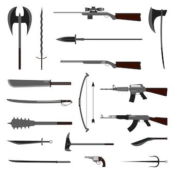 Ensemble d'éléments d'arme. médiéval et moderne