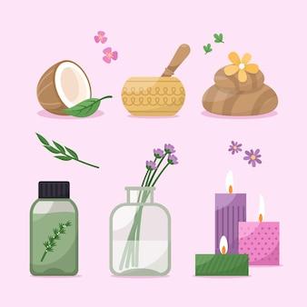Ensemble d'éléments d'aromathérapie design plat